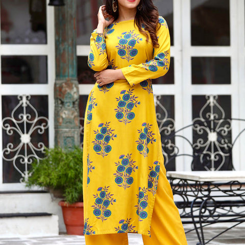 Mustard Straight Kurta Set With Hand Block Work