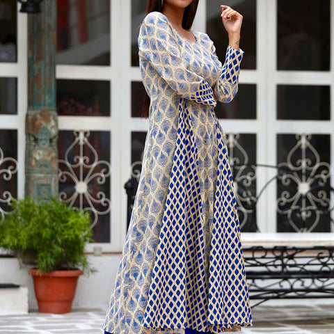 Blue Beige Tunic Set With Hand Block Work