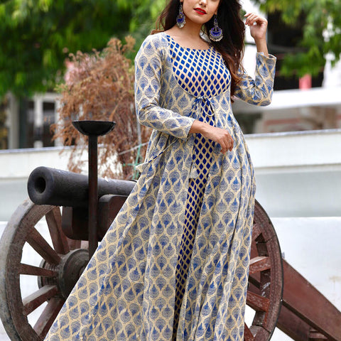 Blue Beige Maxi Jacket Set With Hand Block Work