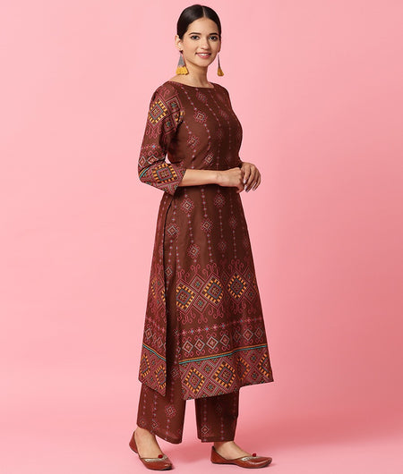 Hand Loom Brown Cotton Kurta Palazzo Set