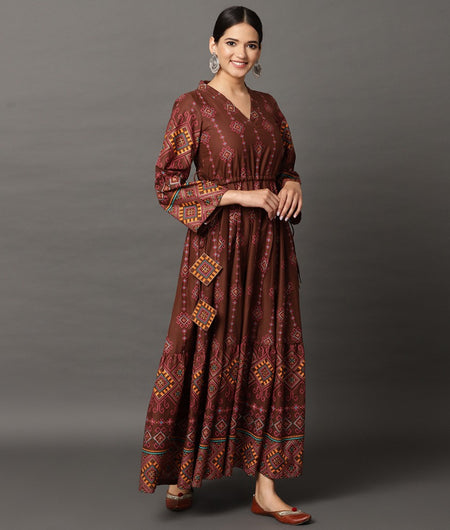 Hand Loom Brown Cotton Dress