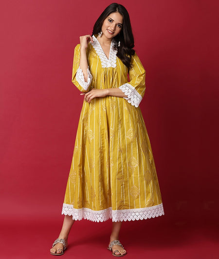 Hand Loom Lemon Cotton Dress