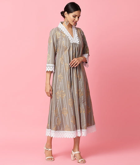 Hand Loom Grey Cotton Dress