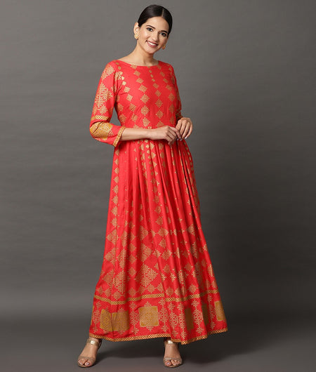 Hand Loom Coral Modal Rayon Dress