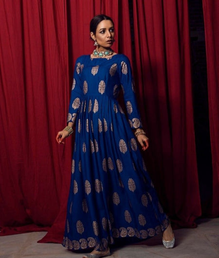 Hand Loom Royal Blue Modal Rayon Dress