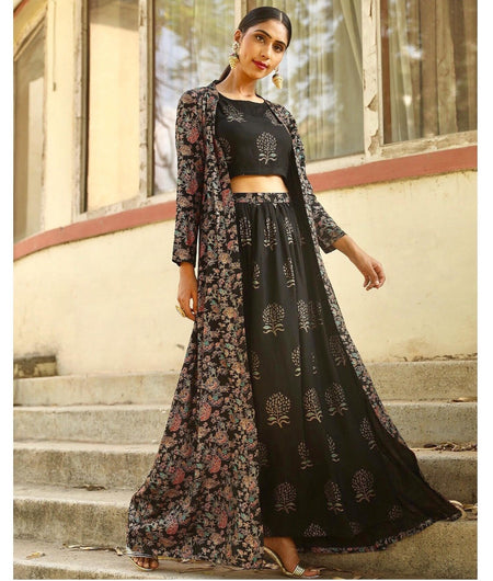 Hand Loom Black Modal Rayon Crop top Pant and Jacket Set