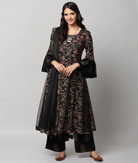 Hand Loom Black Modal Rayon Kurta Palazzo and Dupatta Set