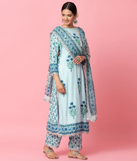 Hand Block Blue Modal Rayon Kurta Palazzo and Dupatta Set