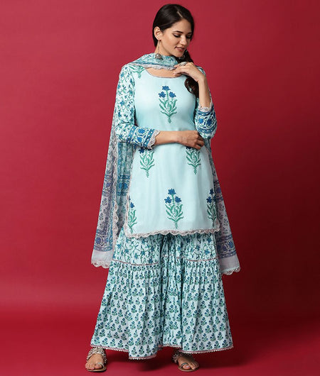 Hand Block Blue Modal Rayon Kurta Ghagara and Dupatta Set