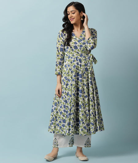 Hand Block Blue Cotton Kurta Palazzo Set