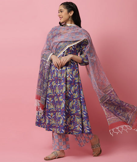 Hand Block Blue Cotton Kurta Palazzo Dupatta Set