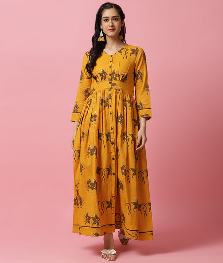 Hand Block Yellow Cotton Dress