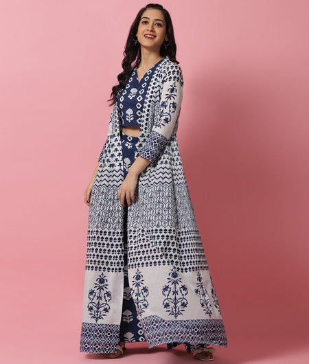Hand Block Indigo and White Cotton Top Palazzo and Jacket Set