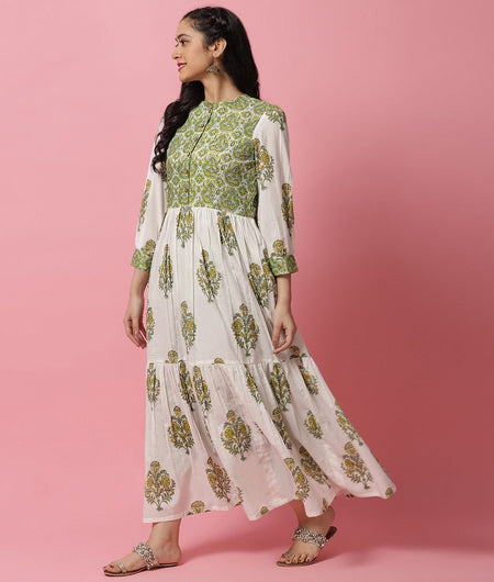 Hand Block Green and White Cotton Gown