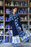 Hand Block Indigo and White Cotton Kurta Ghagara Dupatta Set