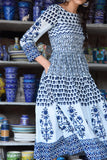 Hand Block Indigo and White Cotton Dress