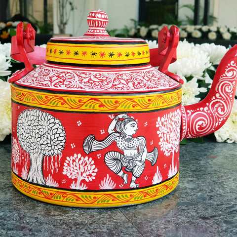 Red and White Traditional Teapot