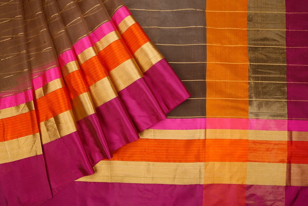 Handloom Organza Saree With Kutu Border  In Brown