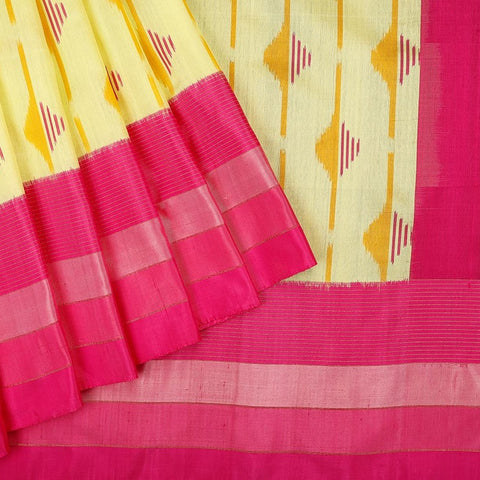 Handloom Kanjivaram Silk Ikkat Saree in Cream and pink