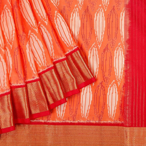 Handloom Kanjivaram Silk Ikkat Saree in Orange