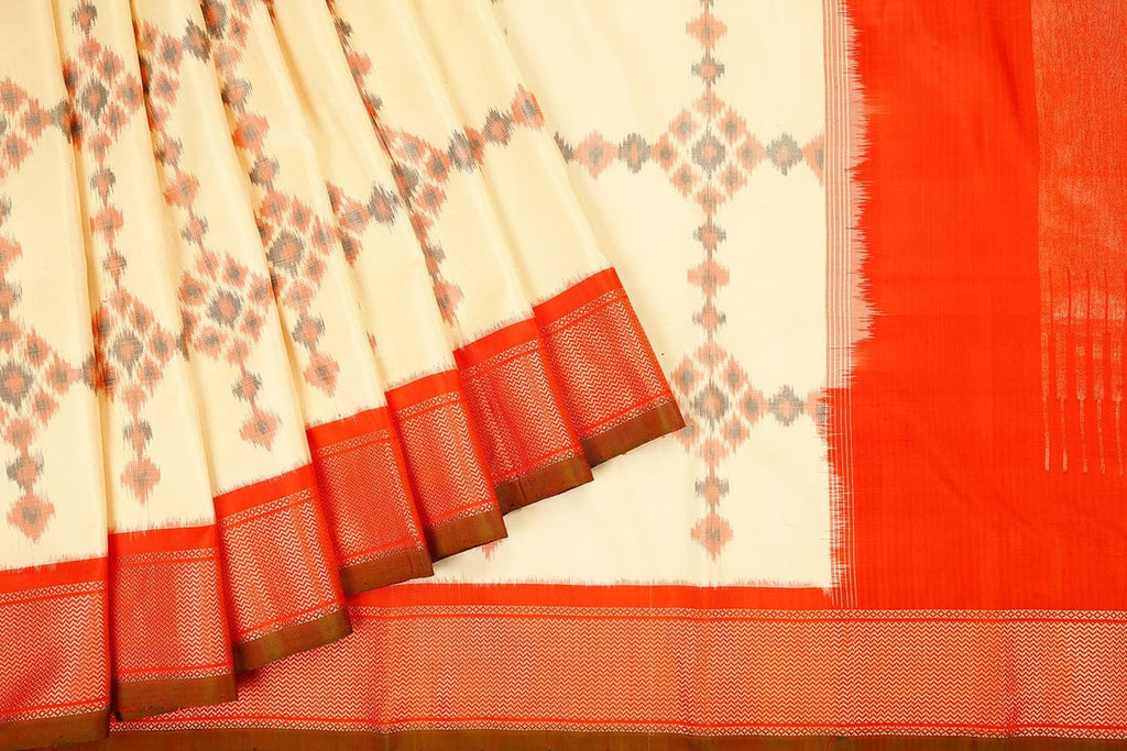 Handloom Kanjivaram Silk Ikkat Saree in White