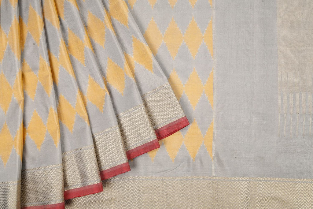 Handloom Kanjivaram Silk Ikkat Saree In Grey