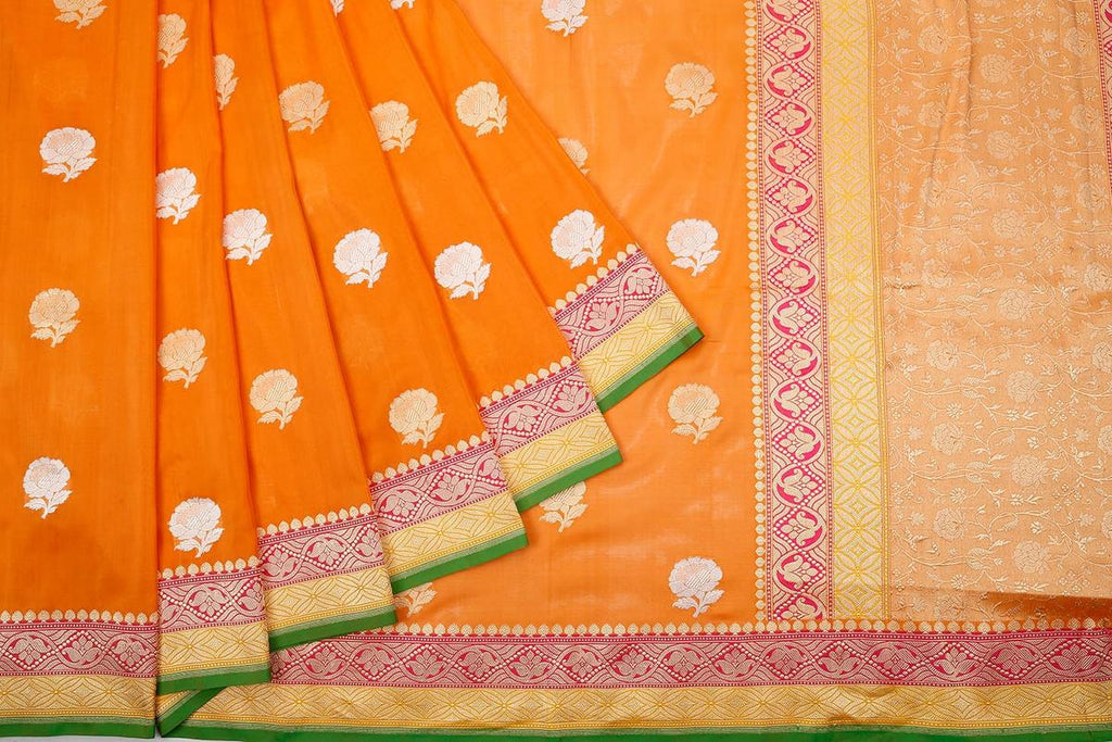 Banarasi orange katan silk phekua Saree with all over banarasi flower butti Work