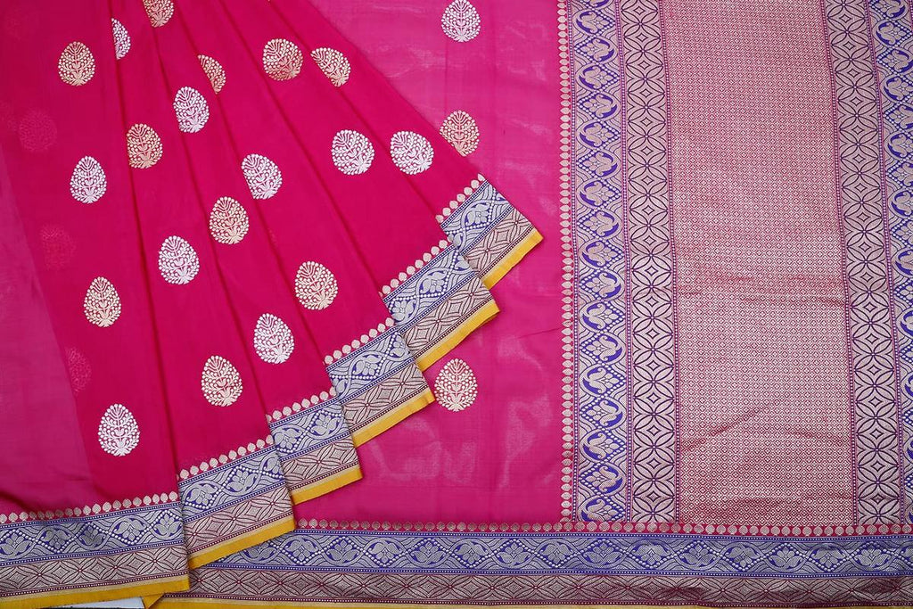 Banarasi pink katan silk phekua Saree with banarasi butti Work
