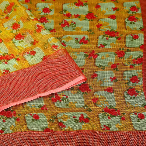 Handloom Silk Kota Saree with Weaving Border and Hand Print in Yellow