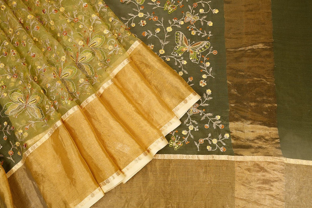 Handwoven Organza Silk Saree With Parsi Work In Green