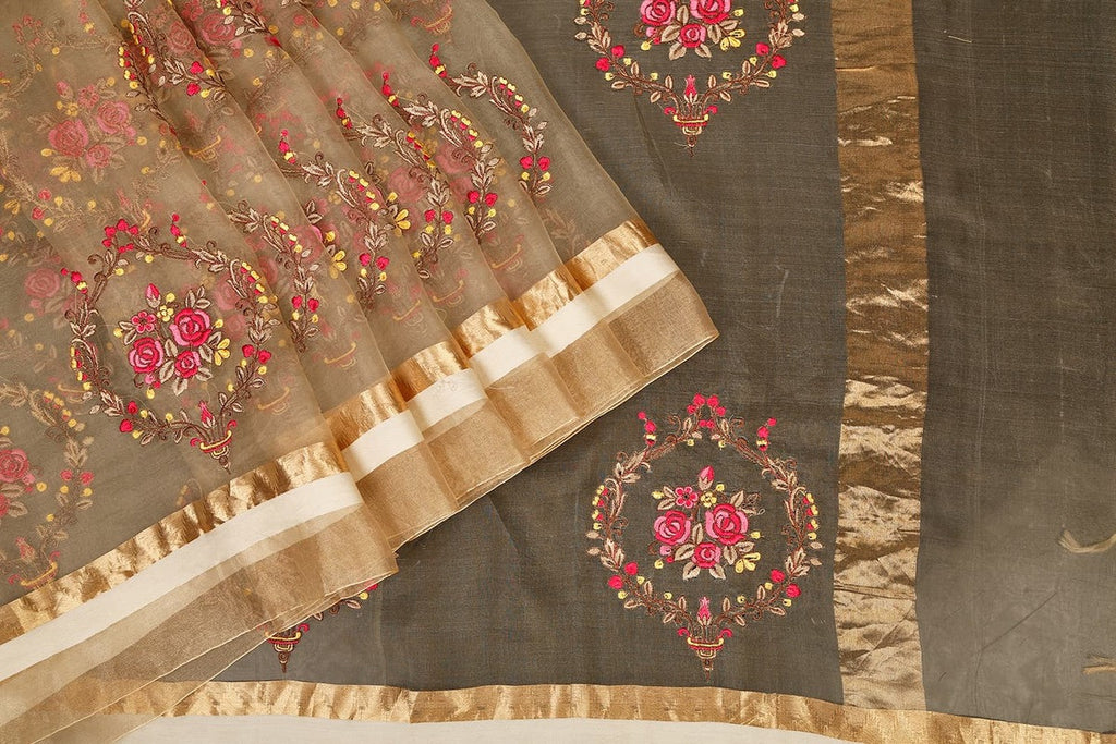 Handwoven Organza Silk Saree With Parsi Work in Beige