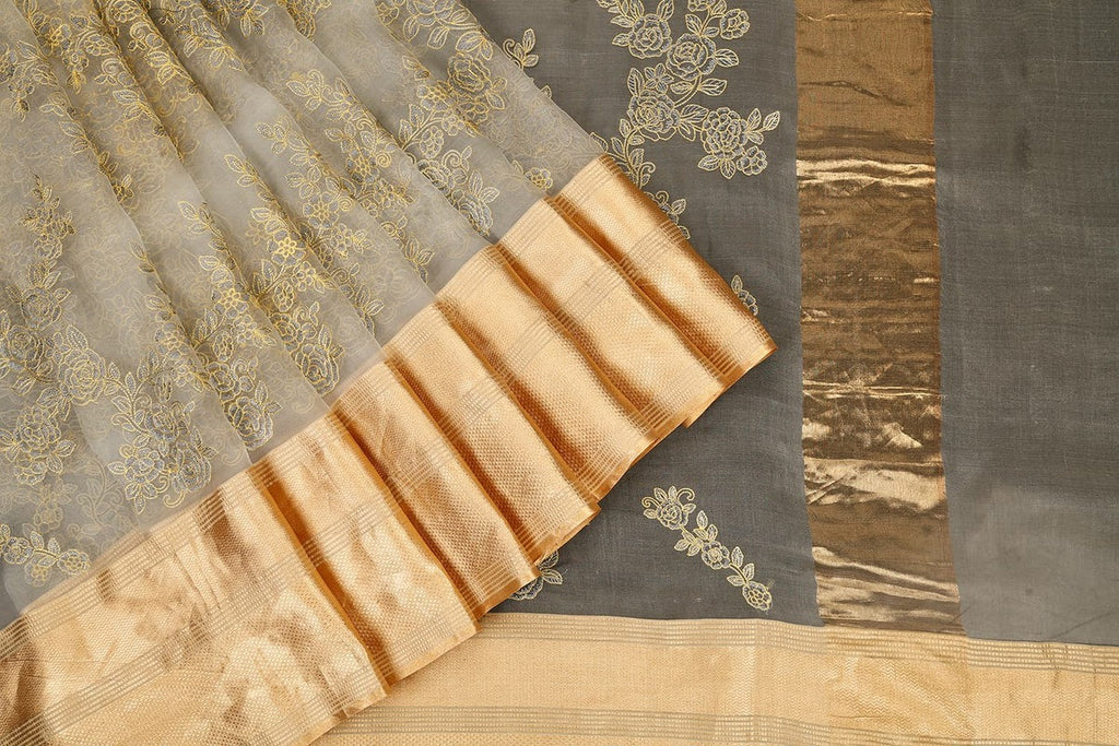 Handwoven Organza Silk White Saree With Parsi Work