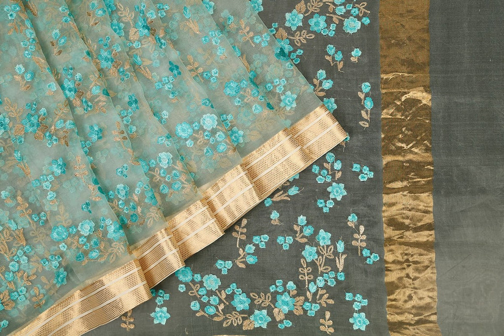 Handwoven Organza Silk Saree With Parsi Work in Blue