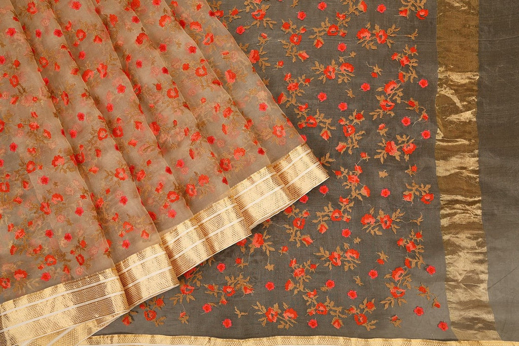 Handwoven Organza Silk Saree With Parsi Work in Orange