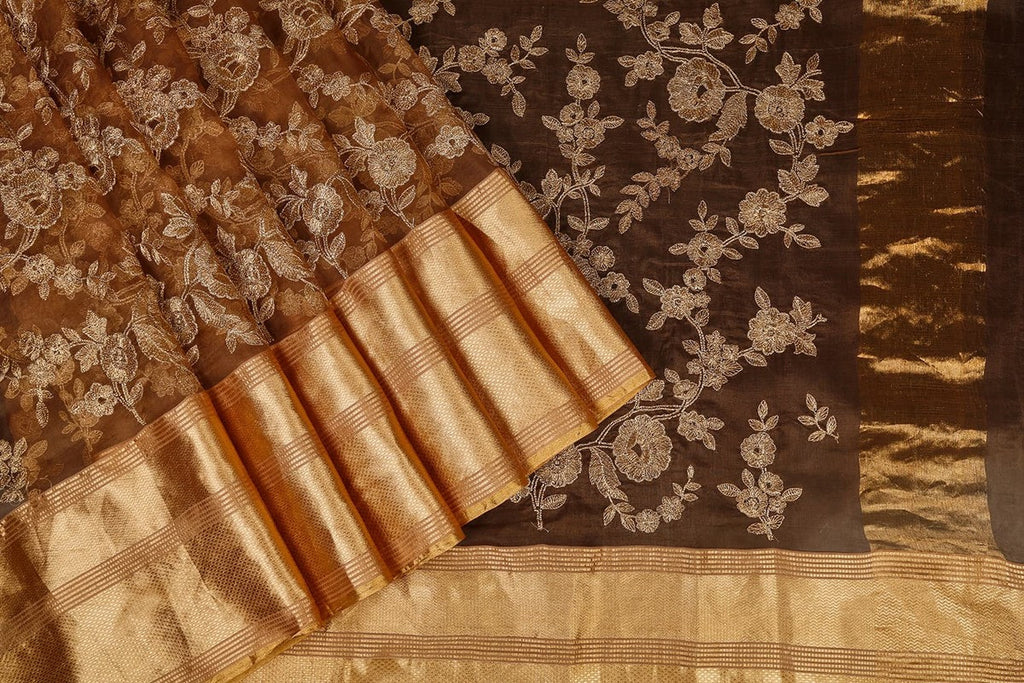 Handwoven Organza Silk Saree With Parsi Work In Brown