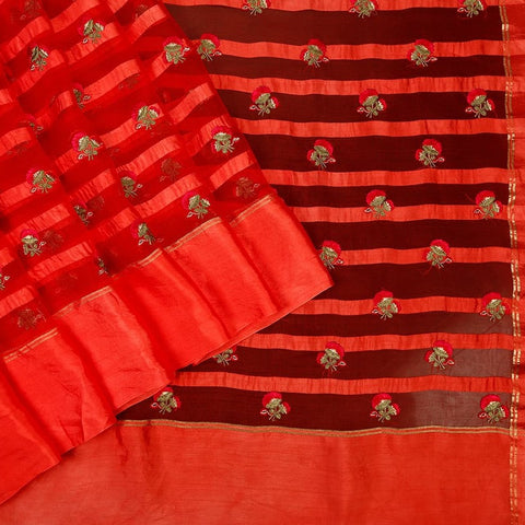 Handwoven Organza Silk Saree With Parsi Work in Red