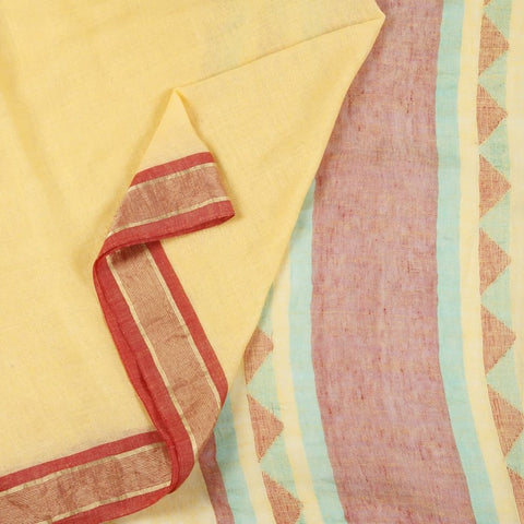 Bengal Linen Cream Saree With golden border on maroon stripes