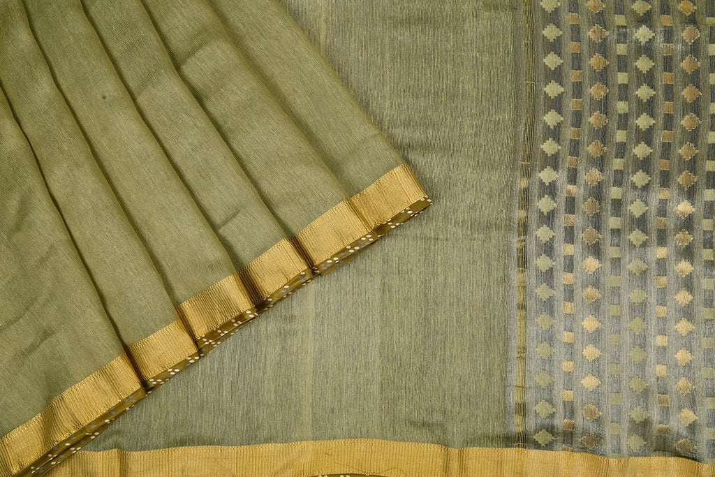 Handwoven Silk Saree in Brown