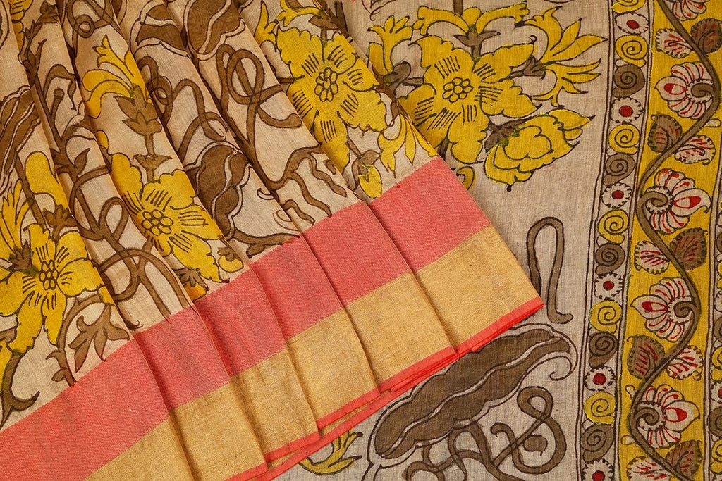 Handloom Maheshwari Kalamkari Saree In Cream