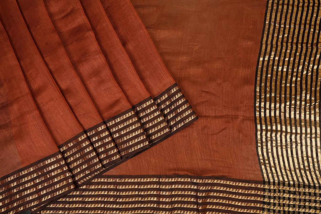 Handwoven Maheshwari Silk Brown Saree With Azrak Blouse