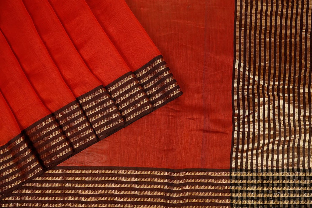 Handwoven Maheshwari Silk Saree In Maroon With Azrak Blouse