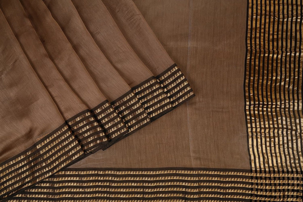 Handwoven Maheshwari Silk Saree In Brownwith Azrak Blouse