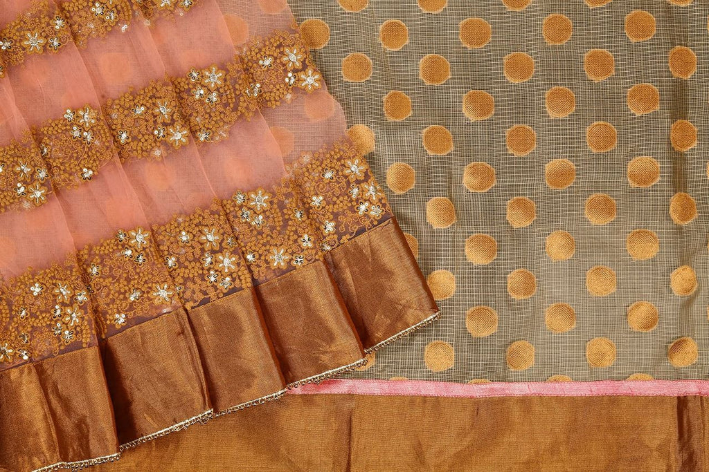 Handloom Silk Kota Hand Embellished Saree  In Beige