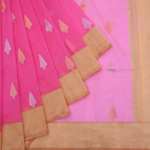 Banarasi Organza Silk Pink Saree With Butidar