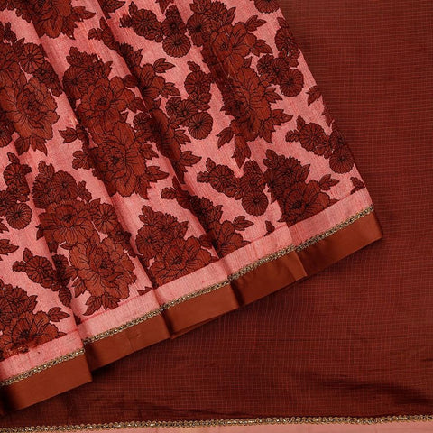 Handloom Silk Kota Hand Embellished Saree  In Brown