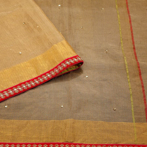 Handloom Silk Kota Hand Embellished Saree  In Khaki