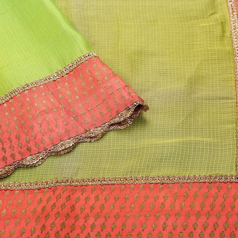 Handloom Silk Kota Hand Embellished Saree  in Lemon Green