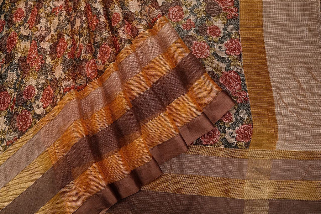Handloom Silk Kota Saree With Weaving Border And Hand Print  In Beig