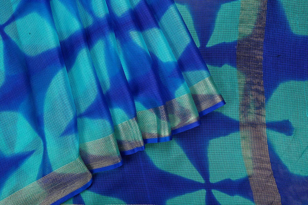 Handloom Silk Kota Saree with Weaving Border and Hand Print  in Deep Blue