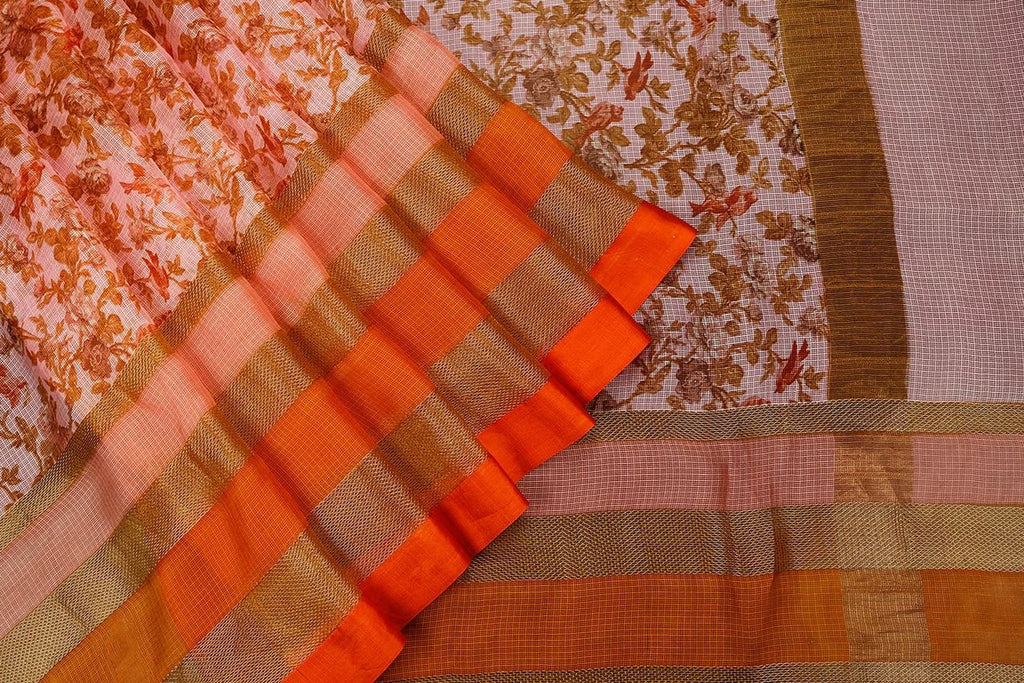 Handloom Silk Kota Saree In Cream With Weaving Border And Hand Print